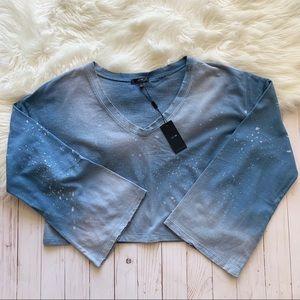Joe's Jeans Bell Sleeve Acid Wash Crop Sweatshirt